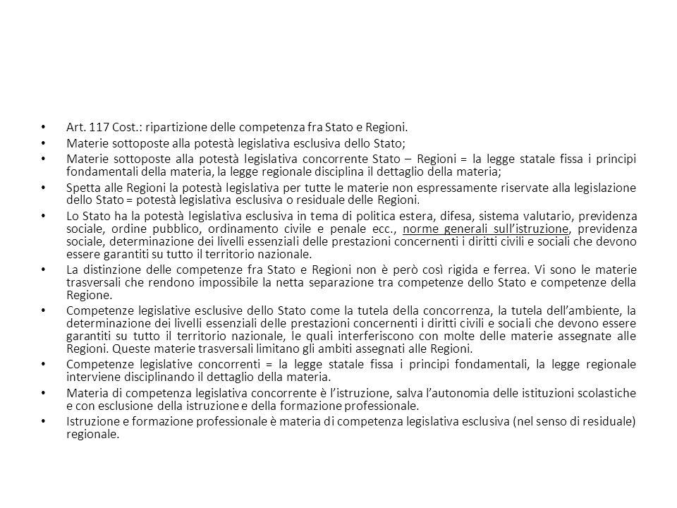 Art. 117 Cost.: ripartizione delle competenza fra Stato e Regioni.