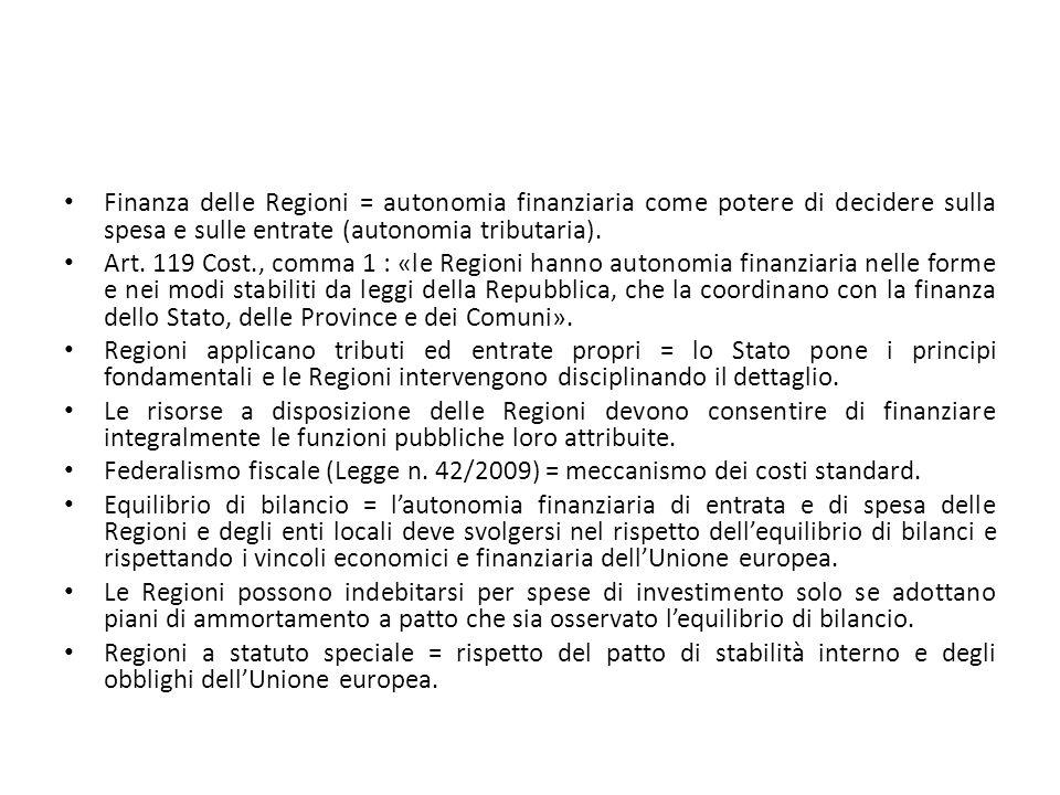 Finanza delle Regioni = autonomia finanziaria come potere di decidere sulla spesa e sulle entrate (autonomia tributaria).