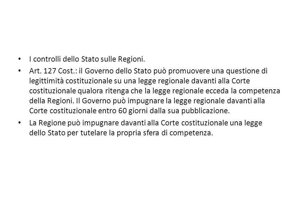I controlli dello Stato sulle Regioni.