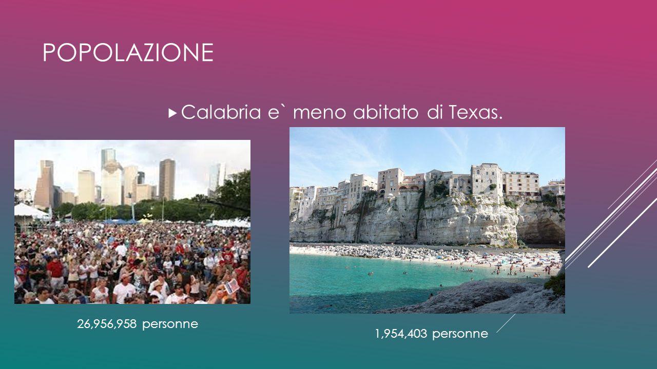 popolazione Calabria e` meno abitato di Texas. 26,956,958 personne