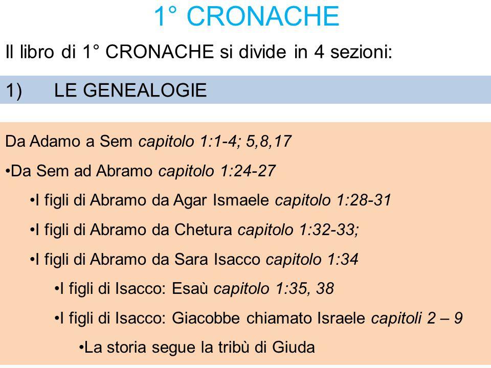 1° CRONACHE Il libro di 1° CRONACHE si divide in 4 sezioni: