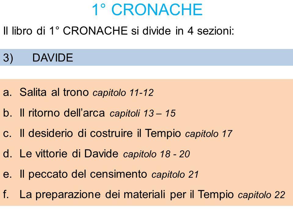 1° CRONACHE Il libro di 1° CRONACHE si divide in 4 sezioni: 3) DAVIDE