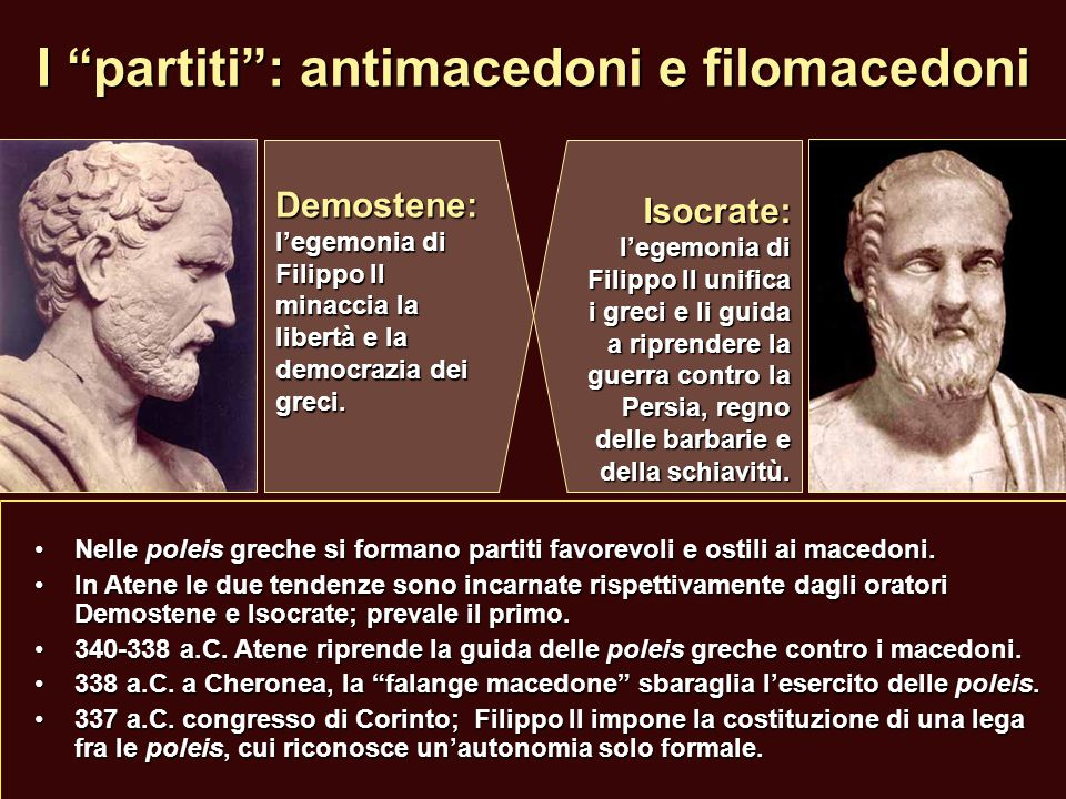 I partiti : antimacedoni e filomacedoni
