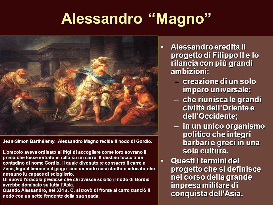 Alessandro Magno Alessandro eredita il progetto di Filippo II e lo rilancia con più grandi ambizioni: