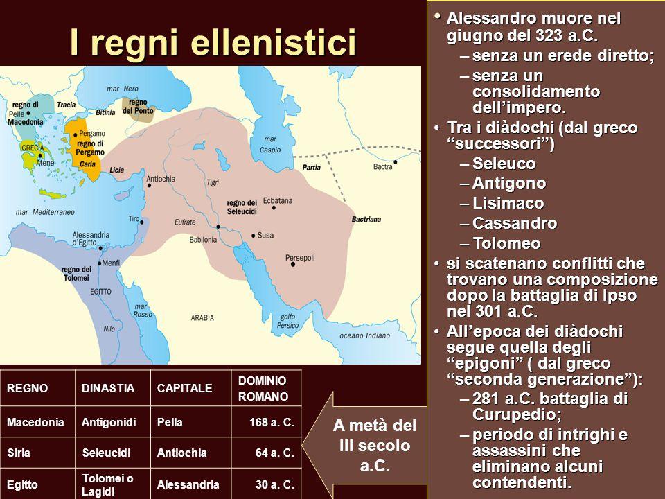 I regni ellenistici • Alessandro muore nel giugno del 323 a.C.