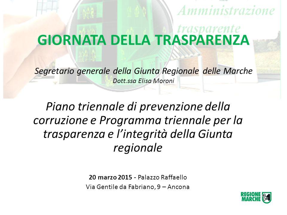 GIORNATA DELLA TRASPARENZA Segretario generale della Giunta Regionale delle Marche Dott.ssa Elisa Moroni