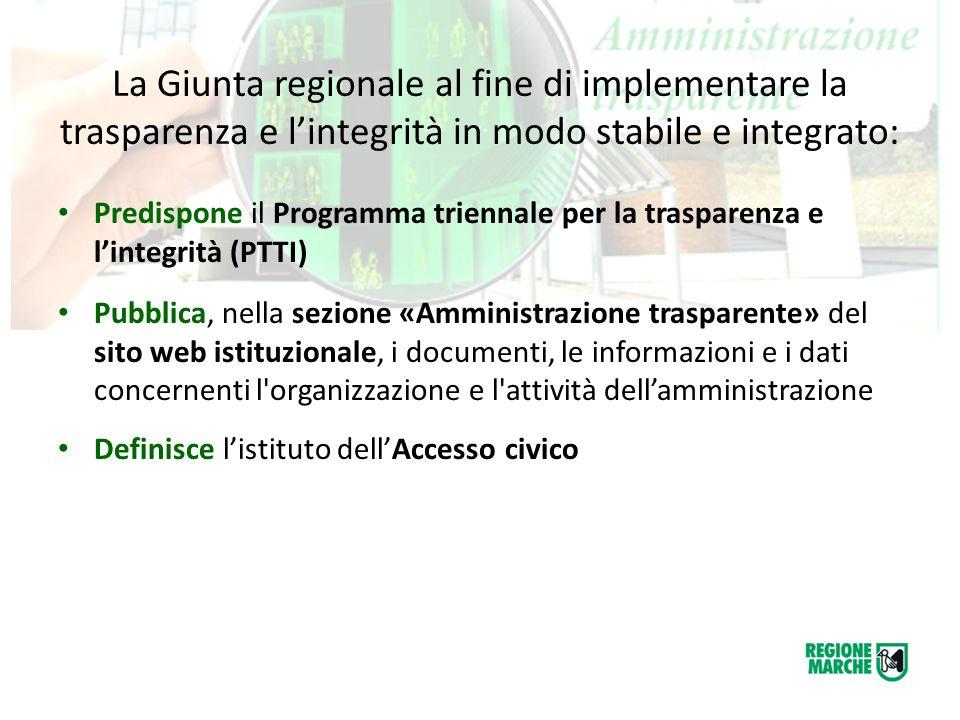La Giunta regionale al fine di implementare la trasparenza e l'integrità in modo stabile e integrato: