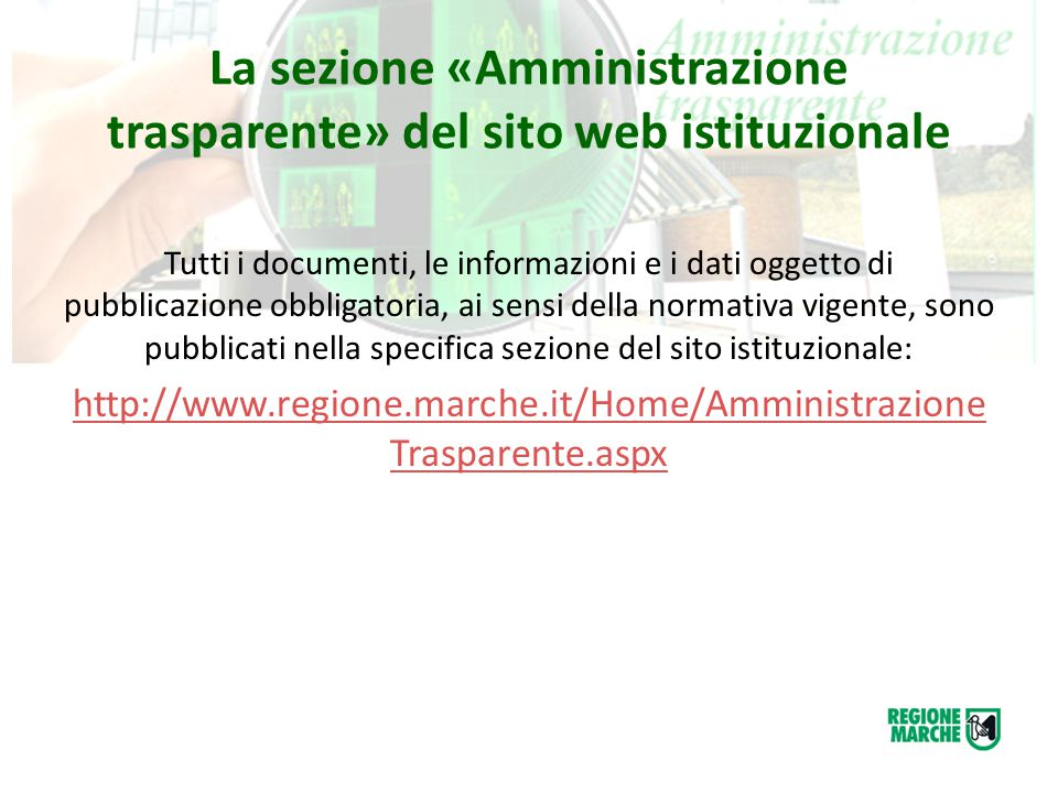 La sezione «Amministrazione trasparente» del sito web istituzionale