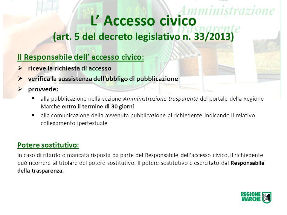 L' Accesso civico (art. 5 del decreto legislativo n. 33/2013)