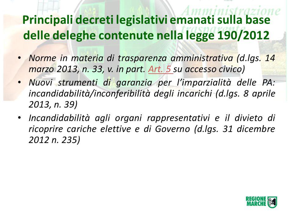 Principali decreti legislativi emanati sulla base delle deleghe contenute nella legge 190/2012