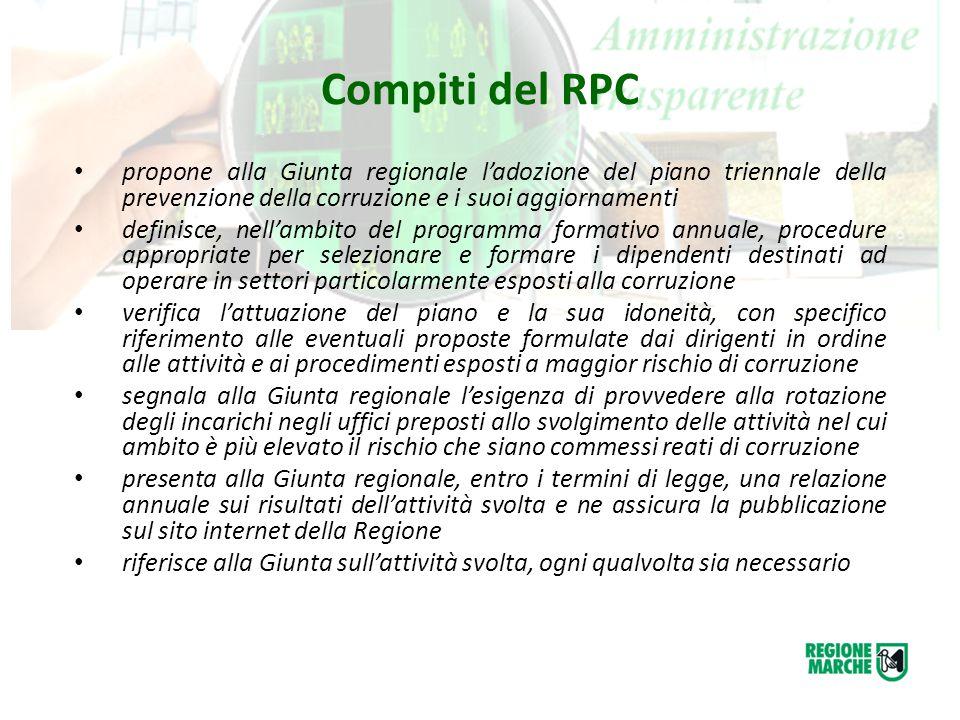 Compiti del RPC propone alla Giunta regionale l'adozione del piano triennale della prevenzione della corruzione e i suoi aggiornamenti.