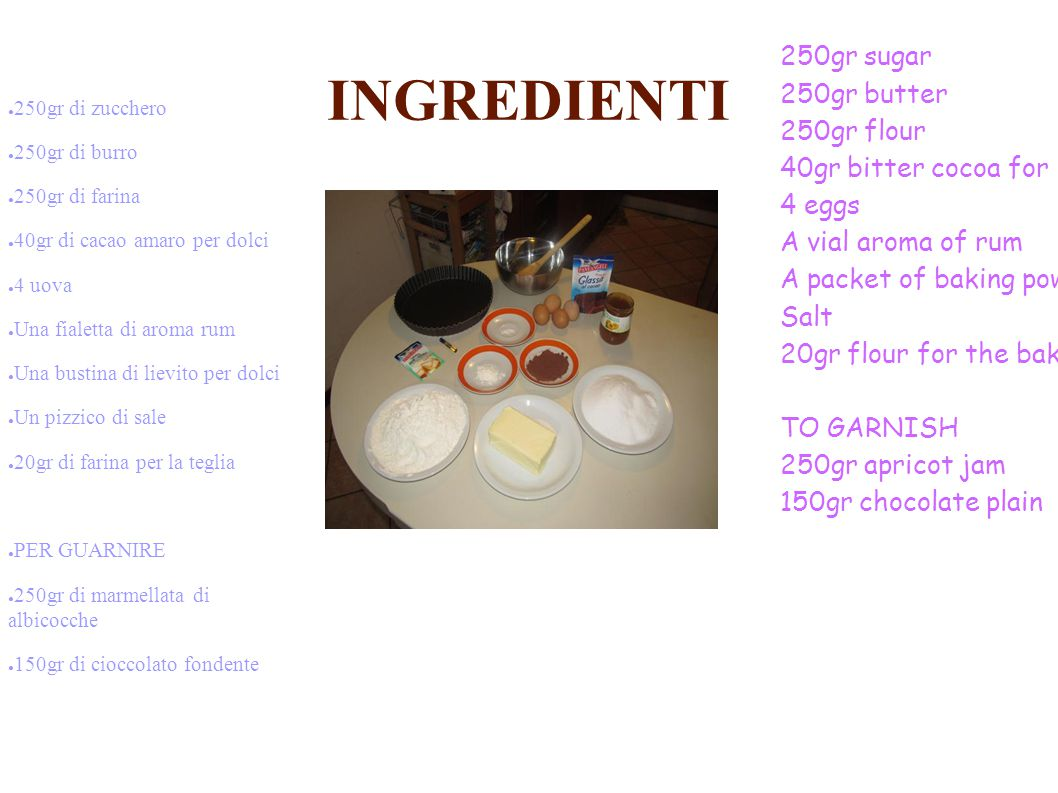 INGREDIENTI 250gr sugar 250gr butter 250gr flour