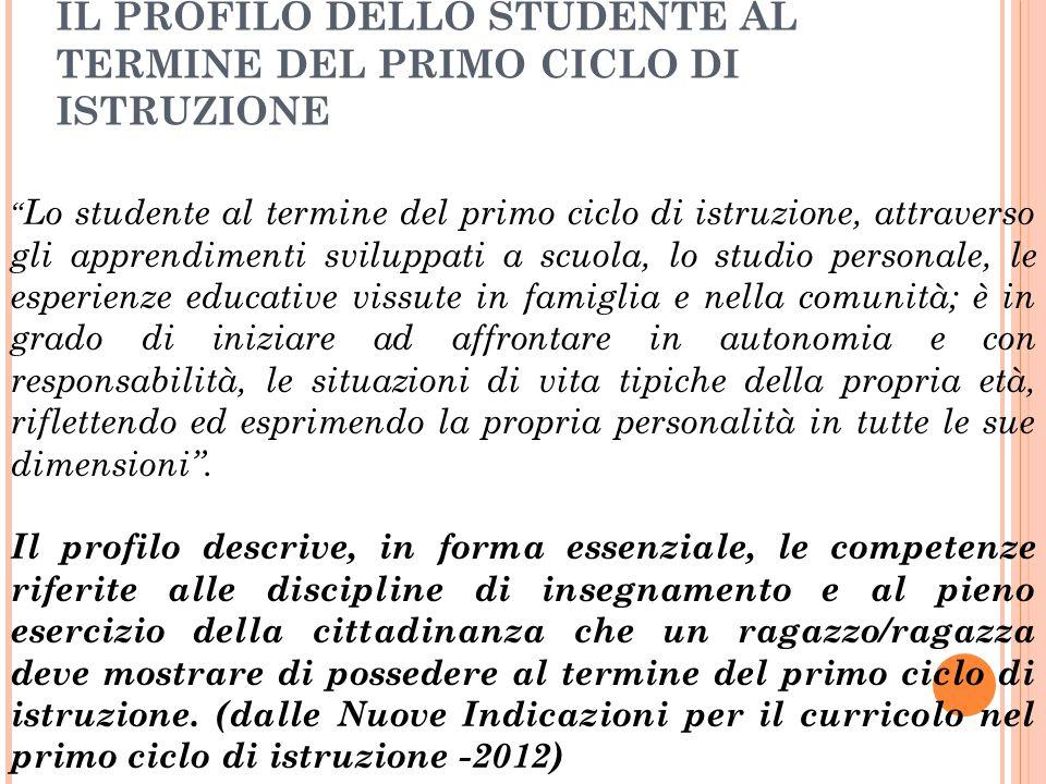 IL PROFILO DELLO STUDENTE AL TERMINE DEL PRIMO CICLO DI ISTRUZIONE