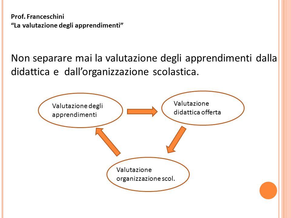 Prof. Franceschini La valutazione degli apprendimenti