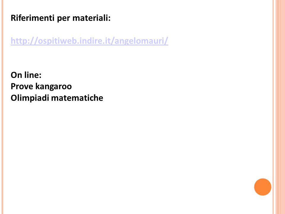 Riferimenti per materiali: