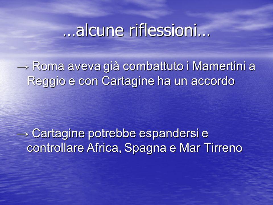 …alcune riflessioni… → Roma aveva già combattuto i Mamertini a Reggio e con Cartagine ha un accordo.