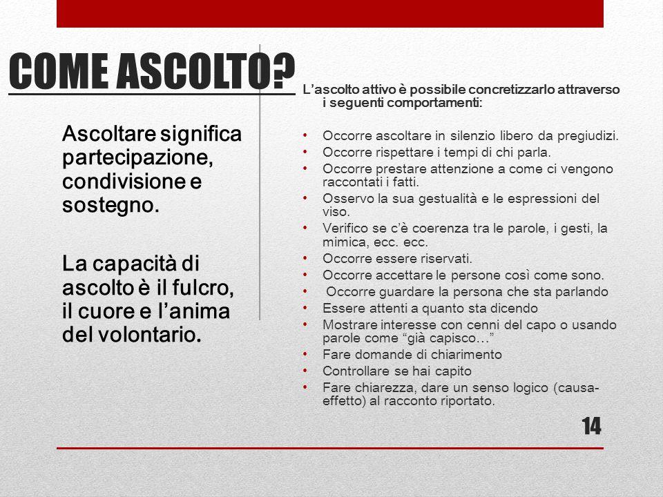 L'ascolto attivo è possibile concretizzarlo attraverso i seguenti comportamenti: