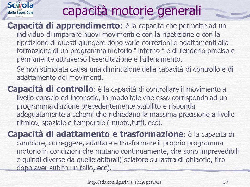 capacità motorie generali