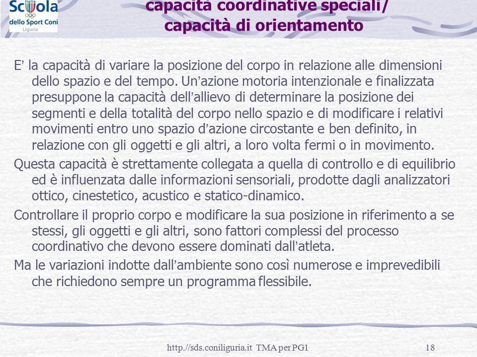 capacità coordinative speciali/ capacità di orientamento