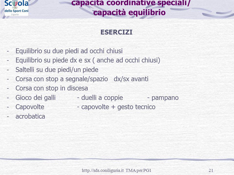 capacità coordinative speciali/ capacità equilibrio