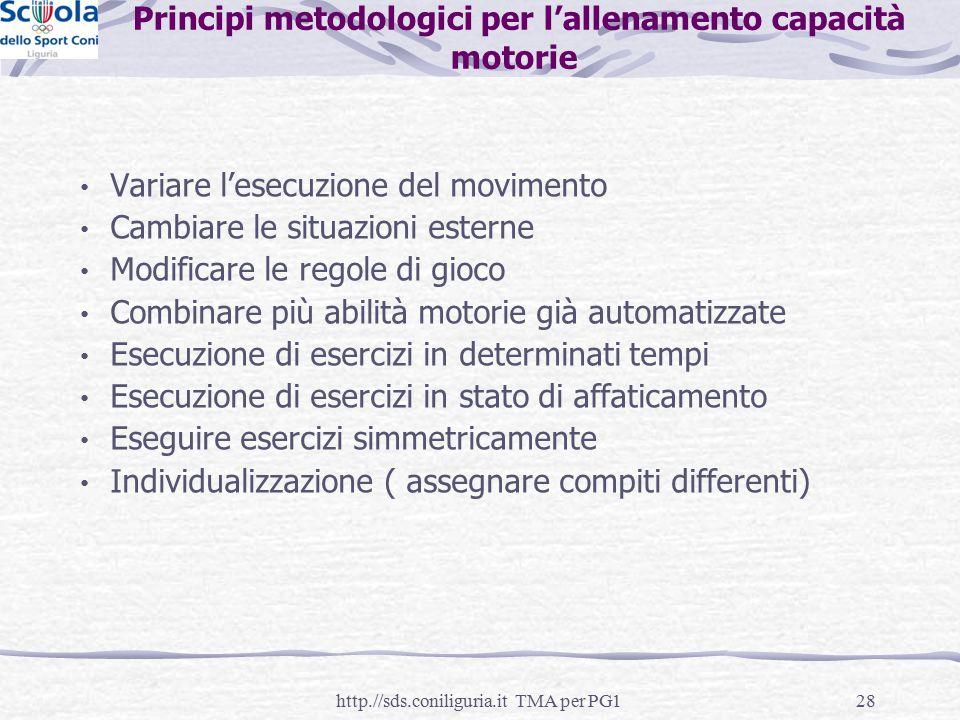 Principi metodologici per l'allenamento capacità motorie