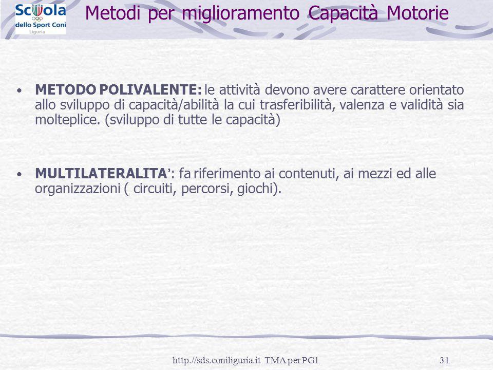 Metodi per miglioramento Capacità Motorie