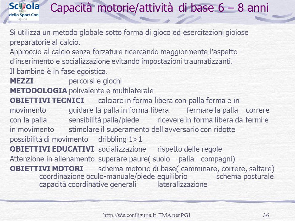 Capacità motorie/attività di base 6 – 8 anni