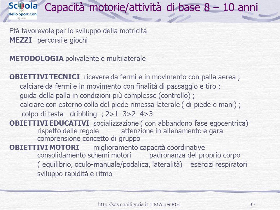 Capacità motorie/attività di base 8 – 10 anni