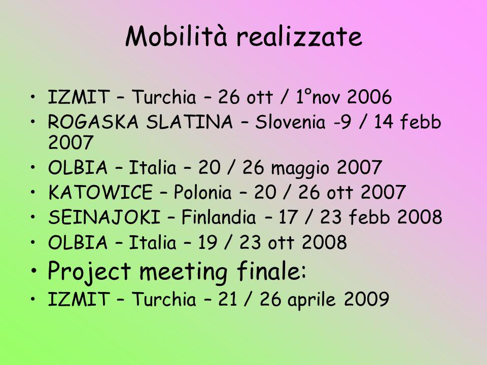 Mobilità realizzate Project meeting finale:
