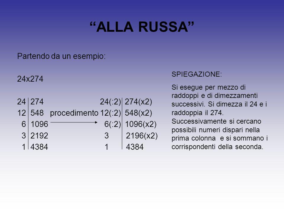ALLA RUSSA Partendo da un esempio: 24x274 24 274 24(:2) 274(x2)