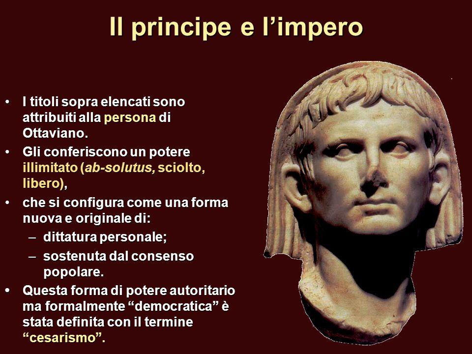 Il principe e l'impero I titoli sopra elencati sono attribuiti alla persona di Ottaviano.