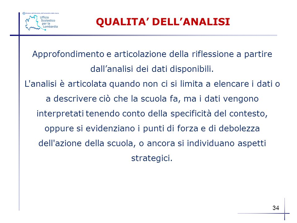 QUALITA' DELL'ANALISI