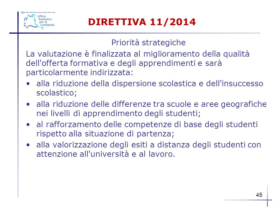DIRETTIVA 11/2014 Priorità strategiche