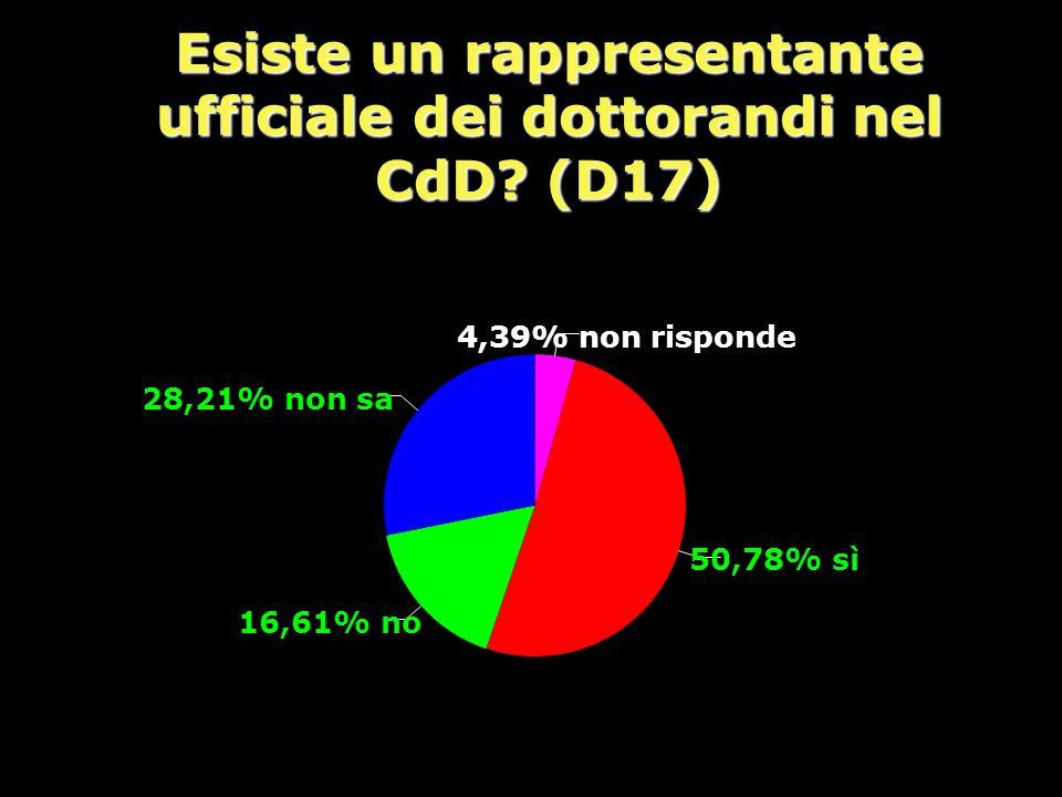 Esiste un rappresentante ufficiale dei dottorandi nel CdD (D17)