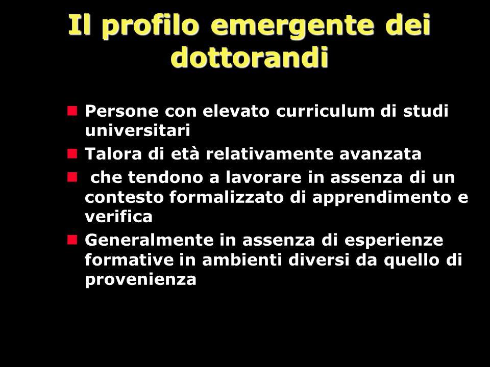 Il profilo emergente dei dottorandi