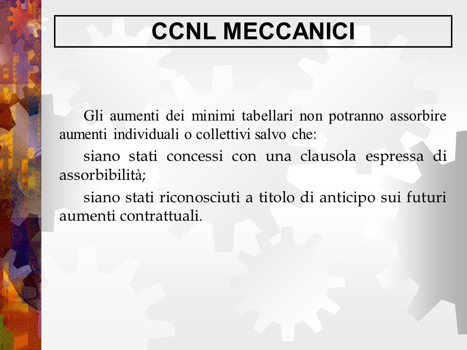 CCNL MECCANICI Gli aumenti dei minimi tabellari non potranno assorbire aumenti individuali o collettivi salvo che: