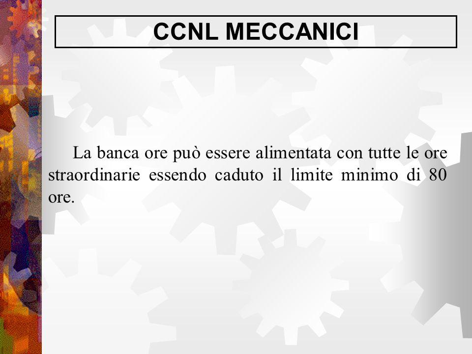 CCNL MECCANICI La banca ore può essere alimentata con tutte le ore straordinarie essendo caduto il limite minimo di 80 ore.