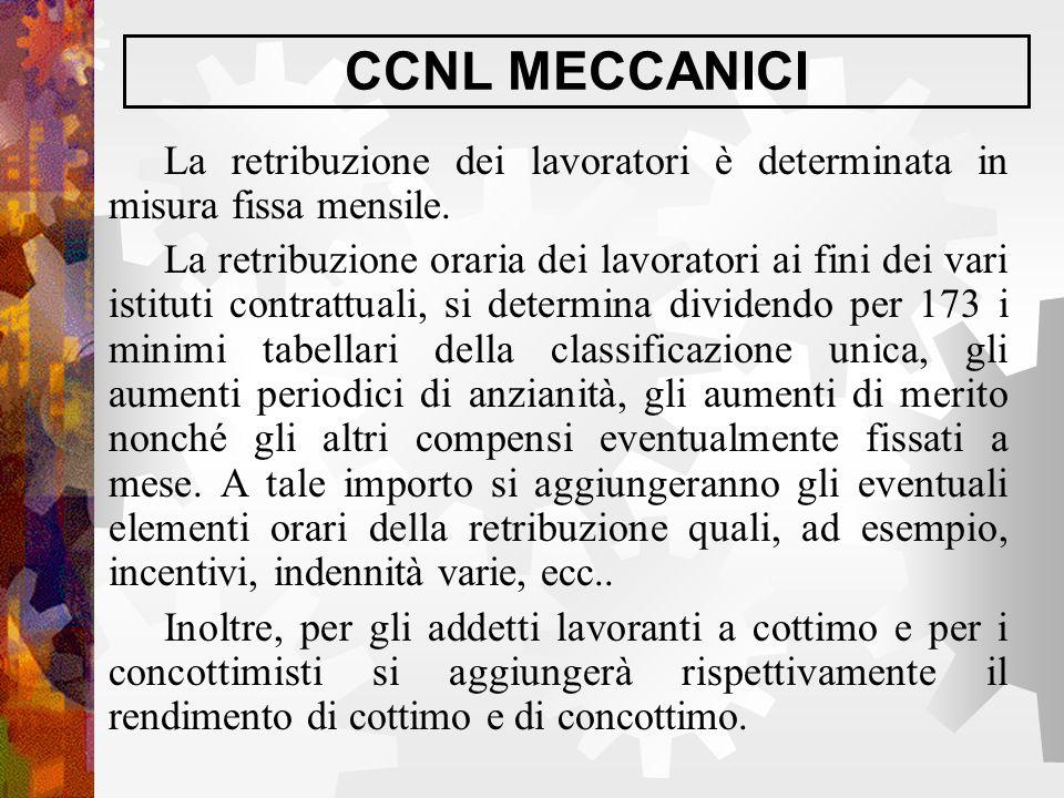 CCNL MECCANICI La retribuzione dei lavoratori è determinata in misura fissa mensile.