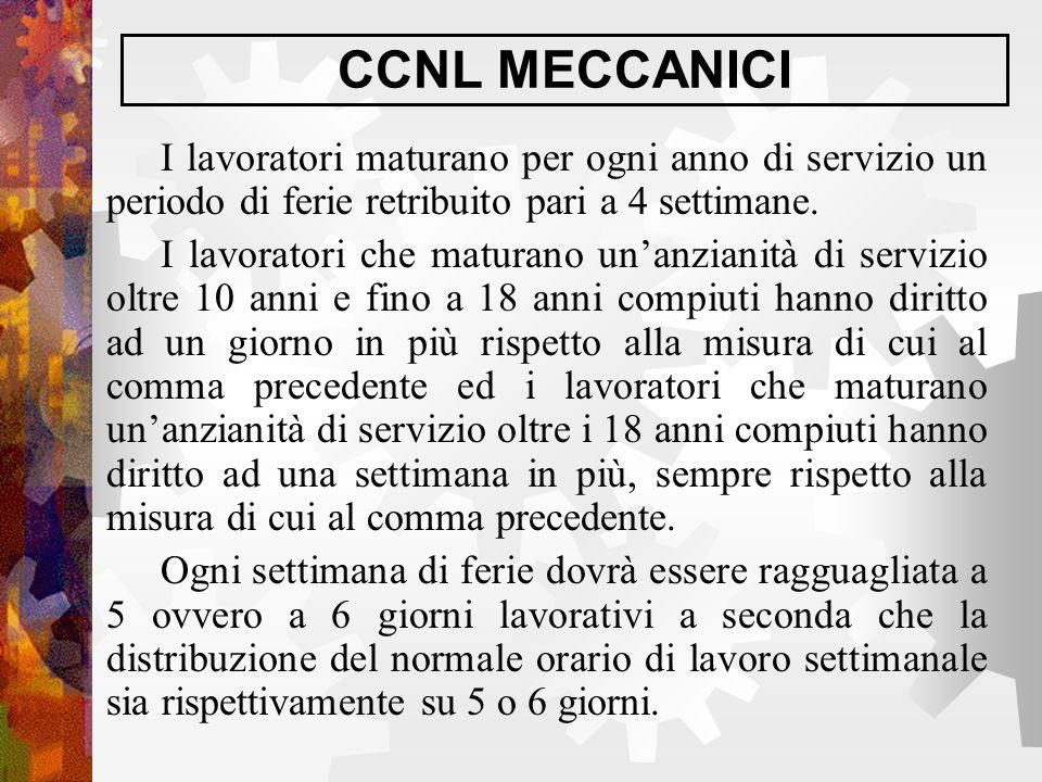 CCNL MECCANICI I lavoratori maturano per ogni anno di servizio un periodo di ferie retribuito pari a 4 settimane.