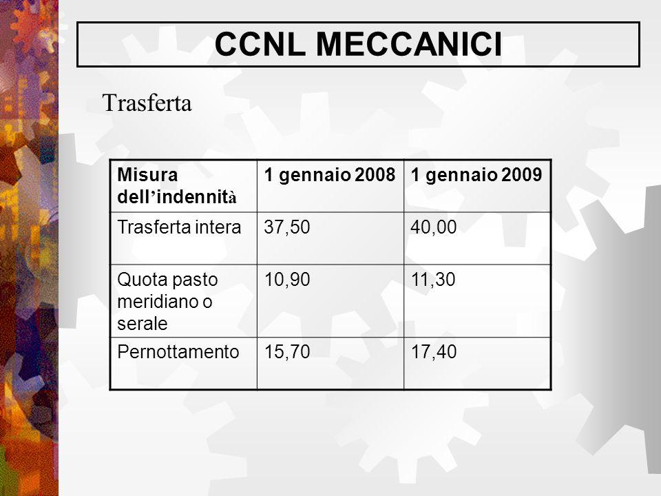 CCNL MECCANICI Trasferta Misura dell'indennità 1 gennaio 2008