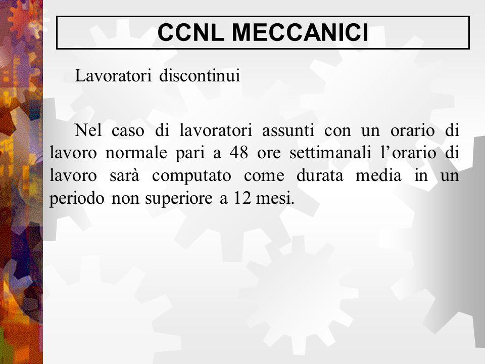 CCNL MECCANICI Lavoratori discontinui