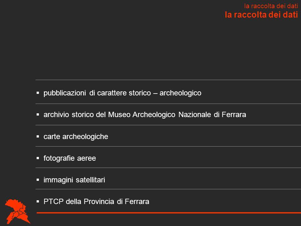 la raccolta dei dati pubblicazioni di carattere storico – archeologico
