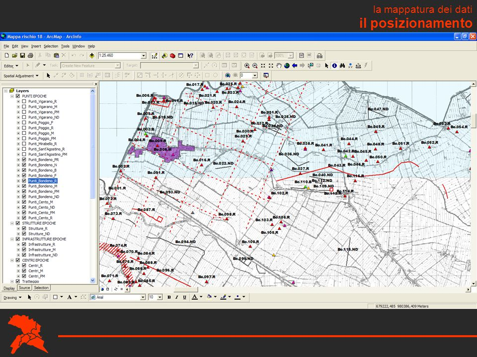 il posizionamento la mappatura dei dati metti gis