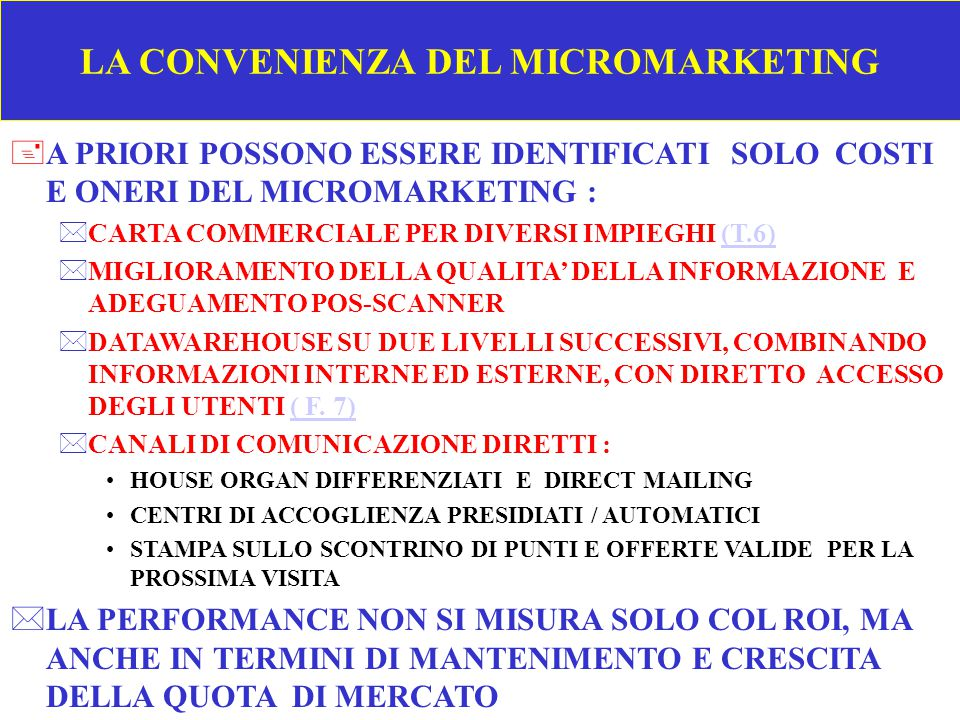 LA CONVENIENZA DEL MICROMARKETING