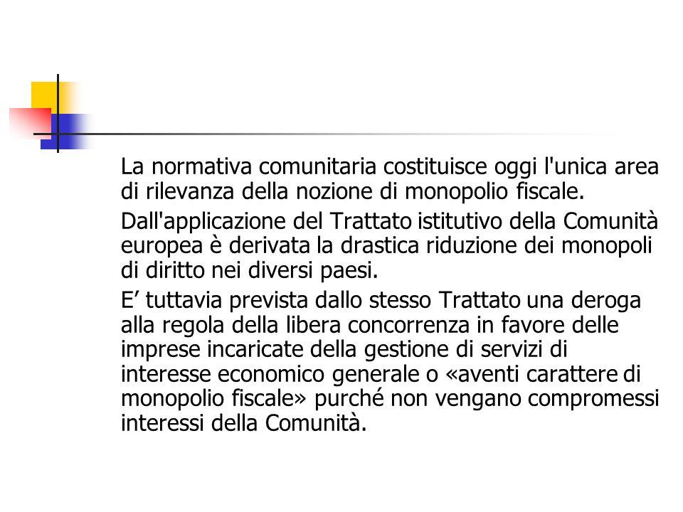 La normativa comunitaria costituisce oggi l unica area di rilevanza della nozione di monopolio fiscale.