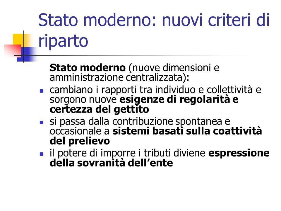 Stato moderno: nuovi criteri di riparto