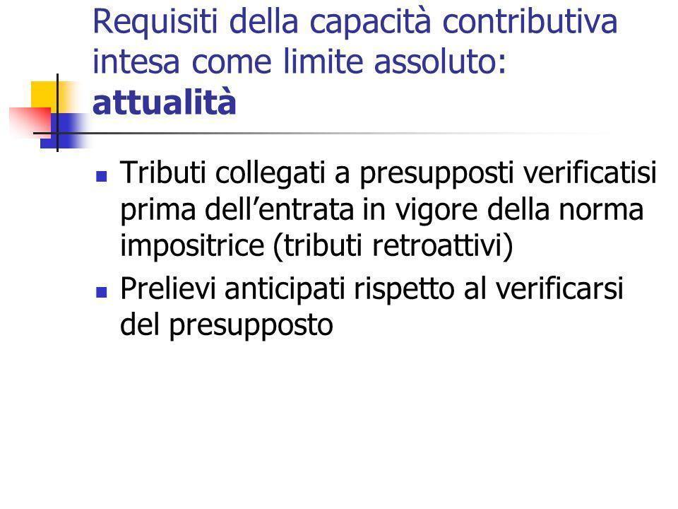 Requisiti della capacità contributiva intesa come limite assoluto: attualità