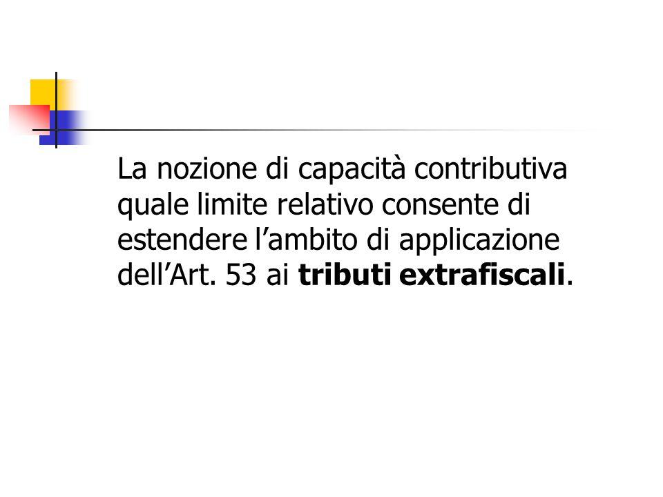 La nozione di capacità contributiva quale limite relativo consente di estendere l'ambito di applicazione dell'Art.