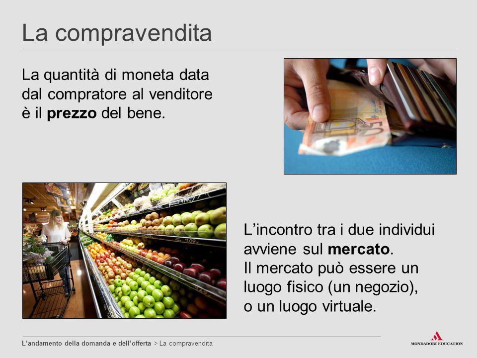 La compravendita La quantità di moneta data dal compratore al venditore è il prezzo del bene. L'incontro tra i due individui avviene sul mercato.