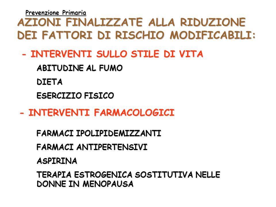 AZIONI FINALIZZATE ALLA RIDUZIONE DEI FATTORI DI RISCHIO MODIFICABILI: